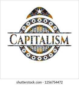 Capitalism arabesque emblem background. arabic decoration.