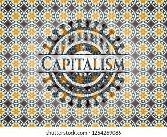 Capitalism arabic style badge. Arabesque decoration.