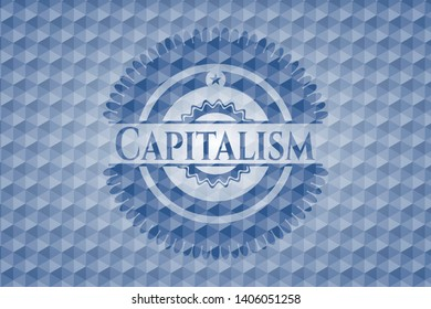 Capitalism blue badge with geometric background. Vector Illustration. Detailed.