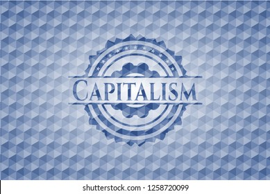Capitalism blue badge with geometric pattern background.