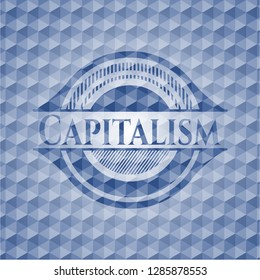 Capitalism blue badge with geometric pattern.