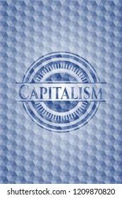 Capitalism blue emblem with geometric pattern background.