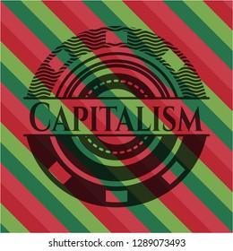 Capitalism christmas badge background.