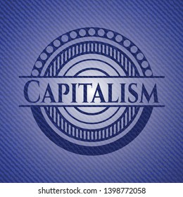 Capitalism with denim texture. Vector Illustration. Detailed.