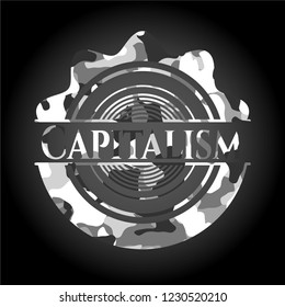 Capitalism grey camouflage emblem