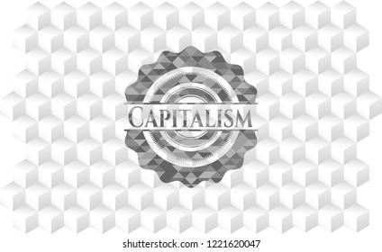 Capitalism grey emblem with geometric cube white background