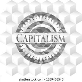 Capitalism grey emblem. Retro with geometric cube white background
