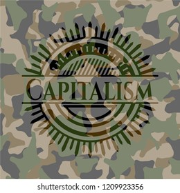 Capitalism on camouflaged pattern