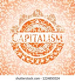 Capitalism orange mosaic emblem with background