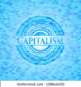 Capitalism realistic light blue mosaic emblem