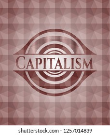 Capitalism red badge with geometric pattern background. Seamless.