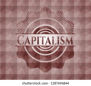 Capitalism red emblem or badge with abstract geometric pattern background. Seamless.