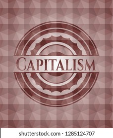 Capitalism red emblem or badge with geometric pattern background. Seamless.
