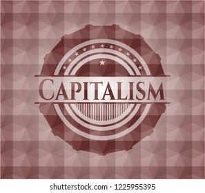 Capitalism red seamless geometric badge.