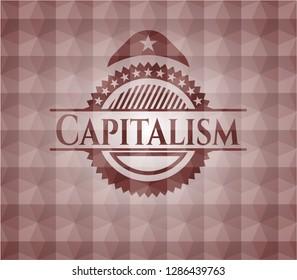 Capitalism red seamless geometric pattern emblem. Seamless.