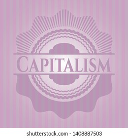 Capitalism retro style pink emblem. Vector Illustration. Detailed.