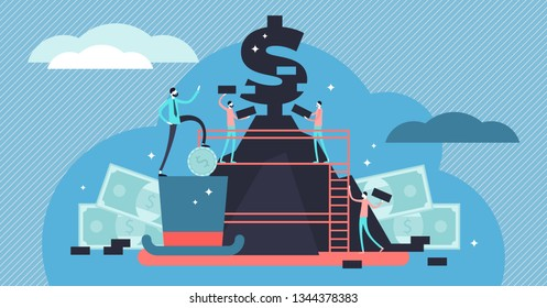 Capitalism vector illustration. Flat tiny economic system persons concept. State ideology based on financial money, profit and market from private ownership. Symbolic wealth priority from labor work.