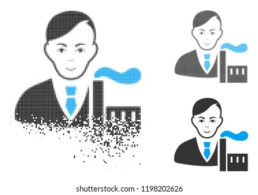 Capitalist oligarch icon with face in disappearing, dotted halftone and undamaged whole versions. Points are organized into vector dissipated capitalist oligarch icon.