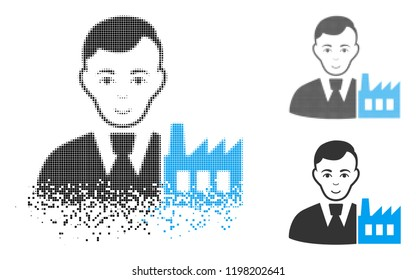 Capitalist oligarch icon with face in disintegrated, pixelated halftone and undamaged solid versions. Fragments are organized into vector disappearing capitalist oligarch symbol.