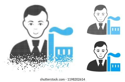 Capitalist oligarch icon with face in dissolving, pixelated halftone and undamaged solid versions. Fragments are arranged into vector dissipated capitalist oligarch figure.