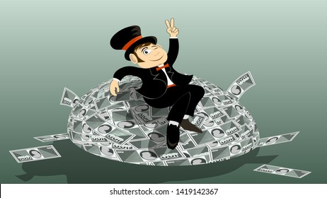 capitalist oligarch in a suit, wearing a top hat, a bow tie, sitting contentedly on a large pile of money. flat character design. vector