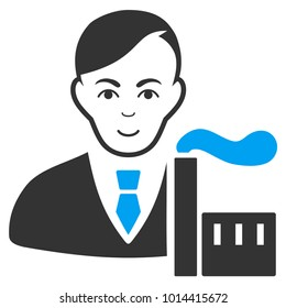 Capitalist Oligarch vector pictograph. Style is flat graphic bicolor symbol, blue and gray colors, white background.