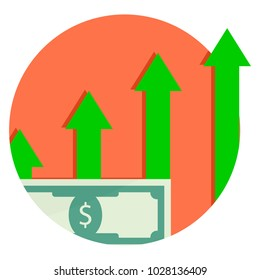 Capitalization is financial growth. Capital Growth Icon. Vector salary raise, profit currency cash illustration