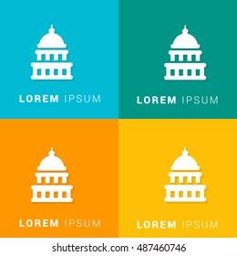 Capitol Building Four Color Material Designed Icon / Logo