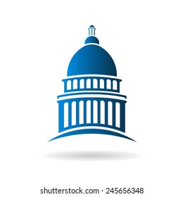 Capitol building logo icon. Vector graphic design