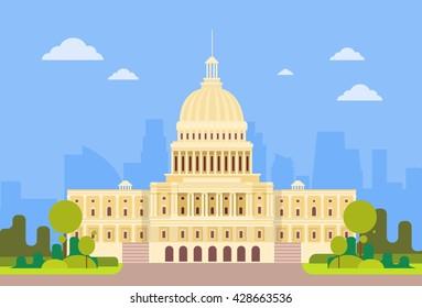 Capitol Building United States Of America Senate House Washington Vector Illustration