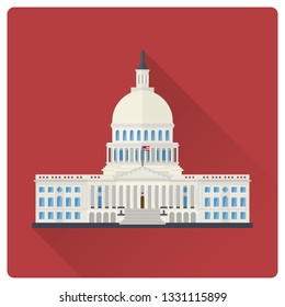 The Capitol building at Washington, D.C., USA, flat design long shadow vector illustration