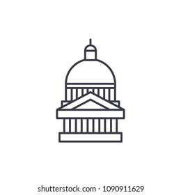 Capitol linear icon concept. Capitol line vector sign, symbol, illustration.