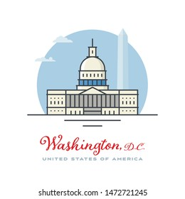 Capitol and monument at Washington, D.C. flat vector illustration. Tourism and travel icon.