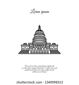 Capitol vector line, linear icon, sign, symbol