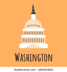 Capitol in Washington. Hand drawn vector illustration isolated on orange background