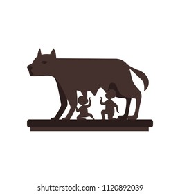 Capitoline Wolf with Romulus and Remus vector Illustration on a white background