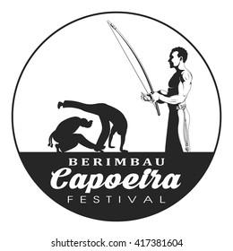 Capoeira berimbau festival badge. Capoeira dancer playing a instrument berimbau. Two capoeira dance fighter silhouette.