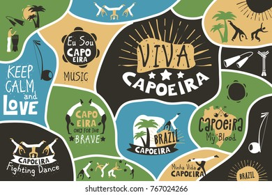 Capoeira brazil poster. Brazilian contest fest decor, martial art form combining dance and fight, moves with music. Vector flat style cartoon illustration with lettering