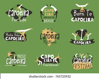 Capoeira Brazilian fighting dance. Traditional activity with music, acrobatics and martial arts elements, movements and fighting contest. Vector flat style cartoon illustration isolated on green