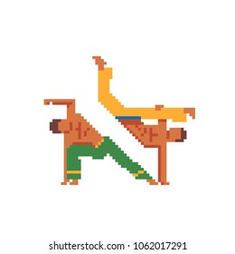 Capoeira dancer pixel art icon. Two fighter Brazilian national struggle capoeira show their skills. Design for stickers, logo and mobile app. Isolated vector illustration. Game assets 8-bit sprite.