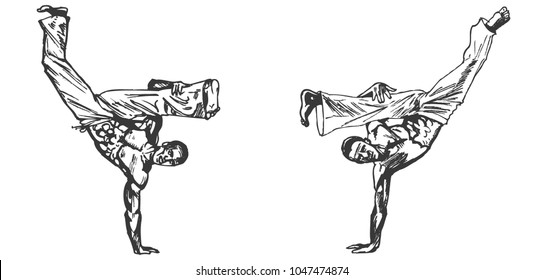 Capoeira. Dancers, dance, graphic drawing