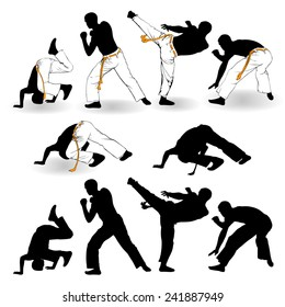 Capoeira fighters on a white background