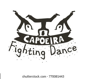 Capoeira fighting dance. Banner for sport combining rhythmic dance, martial-arts, and acrobatic movements. Vector flat style black and white illustration