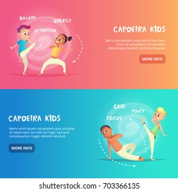 Capoeira kids banner for web design. Children are engaged in training capoeira movement. Cartoon concept vector charecters.