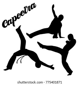 "Capoeira lettering and sillouettes of capoeirists, no background. For designing capoeira promo, logo, banner, poster, website, invitation, visit card. Vector art. Quote ""capoeira"", brush calligraphy"