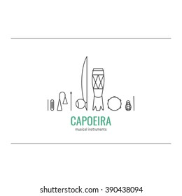 Capoeira musical instruments in line style. Vector icons