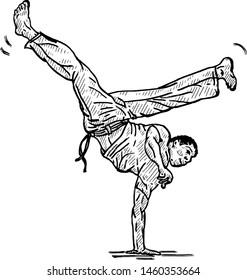 A Capoeira pugilist making an inverted handstand kick. Hand drawn vector illustration.