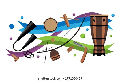 Capoeira and samba instruments set with colorful tapes and bubbles. Pattern with latin musical instruments. Traditional ethnic brazilian musical instruments set in vector  isolated on white backdrop.