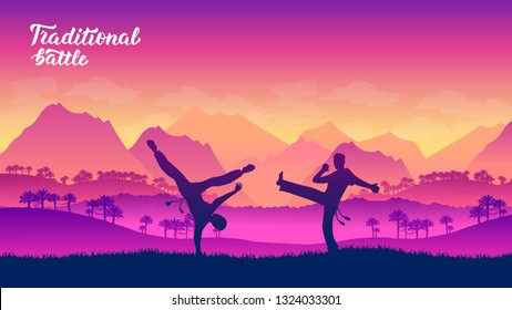 capoeira warriors martial arts of different Nations of the world. Traditional fights without weapons background. Fighting style battle template layout modern slider