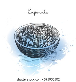 Caponata watercolor effect illustration. Vector illustration of Italian cuisine.